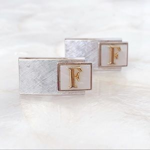 """Swank Silver Tone Mother of Pearl """"F"""" Cuff Links"""